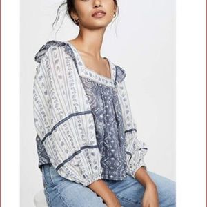 Free People NWT Mostly Meadow Mixed Print Blouse